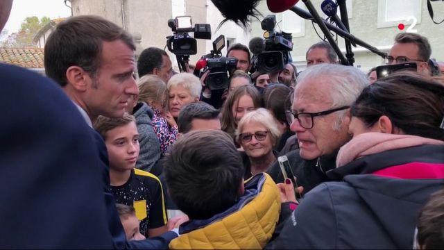 Inondations dans l'Aude : Emmanuel Macron face au désarroi des sinistrés