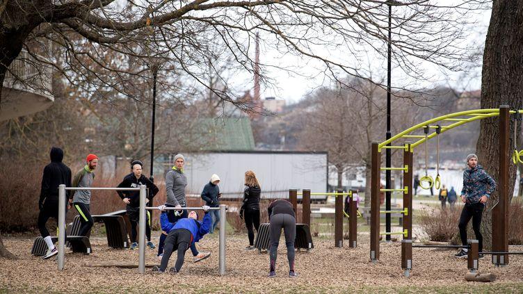 Malgré l'épidémie de coronavirus, les autorités suédoises conseillent de maintenir une activité physique, comme ici, dans un parc du centre de Stockholm, le 1er avril 2020. (JESSICA GOW / TT NEWS AGENCY)