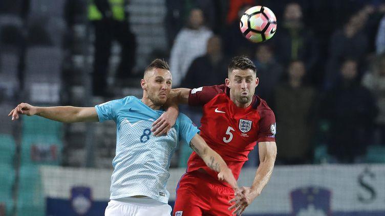 Le match entre la Slovénie et l'Angleterre fut très accroché, à l'image de ce duel entre Cahill et Kurtic (ANTONIO BAT / EPA)