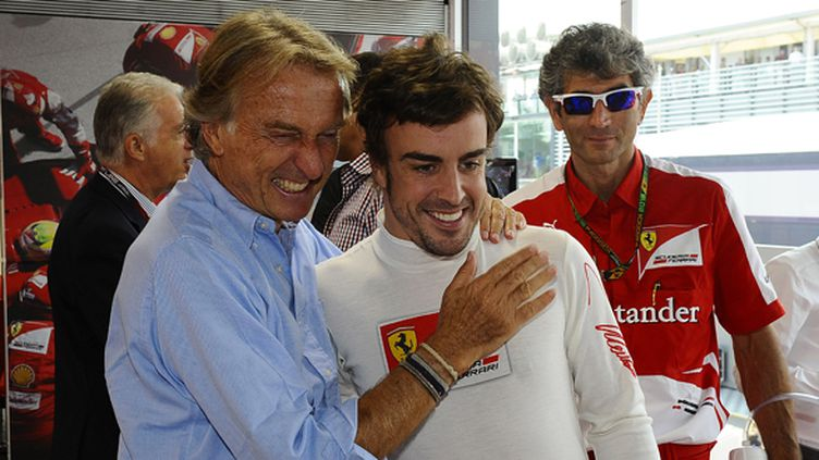 Le président de Ferrari Luca di Montezemolo avec son pilote Fernando Alonso (ERIC VARGIOLU / E.V.A.)