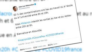 Dans un tweet du 14 octobre, Jean-Luc Mélenchon affirme que 60% des contaminations ont lieu au travail ou à l'école. (FRANCEINFO)