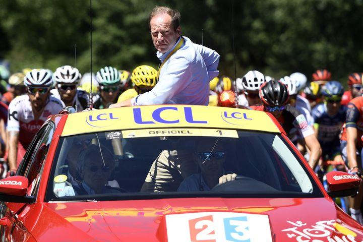 Le patron du Tour de France, Christian Prudhomme, le 16 juillet 2017, au Puy-en-Velay (Haute-Loire). (YORICK JANSENS / BELGA MAG)