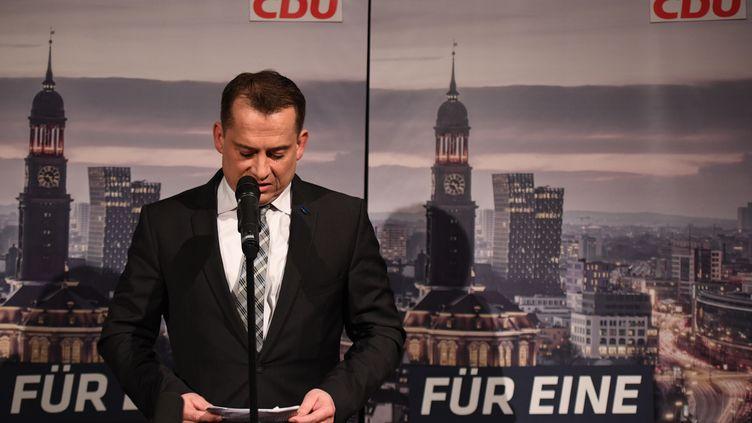 Le président de la CDU à Hambourg (Allemagne), Roland Heintze, s'exprime après le revers électoral subi par le parti au Parlement régional, le 23 février 2020. (DANIEL REINHARDT / DPA / AFP)