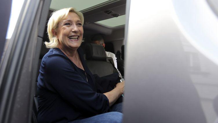 La présidente du FN, Marine Le Pen, venue soutenir les candidats aux législatives, dans le Nord, le 2 juin 2017. (MAXPPP)