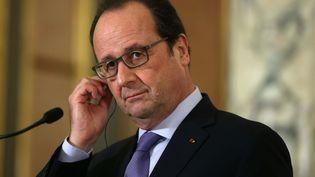 Le président François Hollande lors d'une conférence de presse à Lima (Pérou), le 23 février 2016. (MAXPPP)