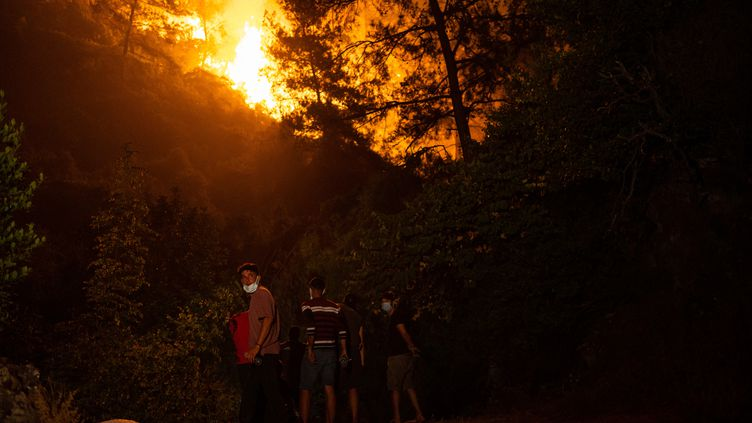 Deshabitants regardent la progression des flammesdansla zone rurale de Marmaris, dans le district de Mugla (Turquie), le 1er août 2021. (YASIN AKGUL / AFP)