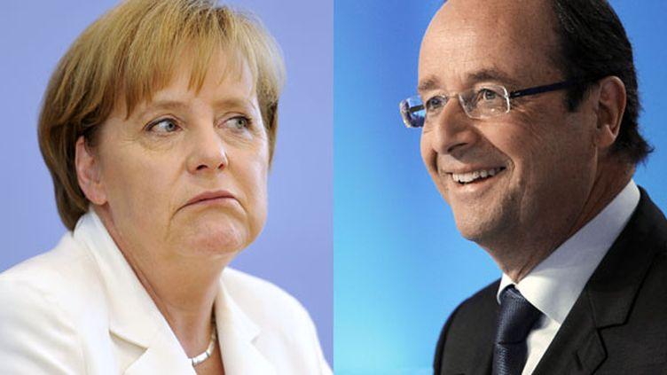 La chancelière allemande, Angela Merkel, et le président de la République française, François Hollande. (AFP / FTVI)