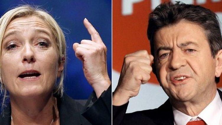 Marine Le Pen et Jean-Luc Mélenchon se disputent la troisième place de la présidentielle 2012. (AFP - PIERRE VERDY VALERY HACHE)