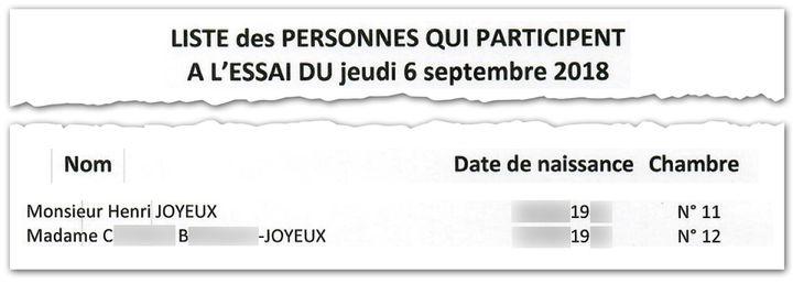 Extrait du mail du 2 septembre 2018. Liste des participants aux essais parmi lesquels Henri Joyeux et sa femme. (CAPTURE D'ÉCRAN / CELLULE INVESTIGATION RADIO FRANCE)