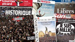 Des unes de journaux datés du 12 janvier 2015, au lendemain de marches républicaines historiques en France. (FRANCETV INFO)