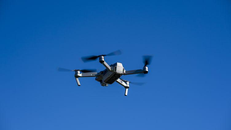Image d'illustration d'un drone volant dans le ciel d'Oliva, en Espagne, le 6 janvier 2019. (JASPER JACOBS / BELGA MAG / AFP)