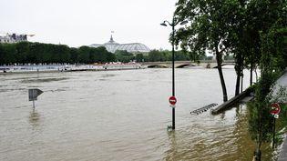 La Seine en crue inonde les quais à Paris, le 2 juin 2016. (TRIPELON-JARRY / ONLY FRANCE / AFP)
