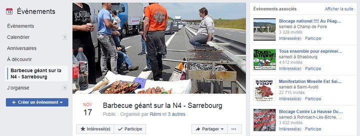 """Capture d'écran d'un événement Facebook des """"gilets jaunes"""" organisé à Sarrebourg (Moselle). (FACEBOOK)"""