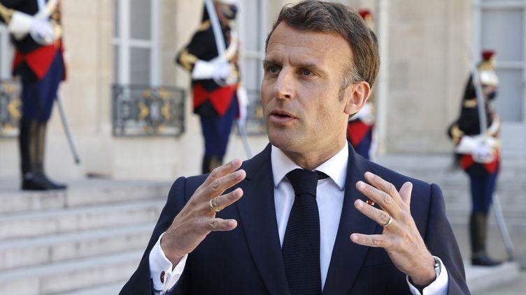 Emmanuel Macronlors d'un discoursàl'Élysée à Paris, le 27 avril 2021. (LUDOVIC MARIN / AFP)