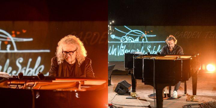 Yvan Cassar et André Manoukian en improvisation pianistique sur le green de Royan (Xavier Renaudin)