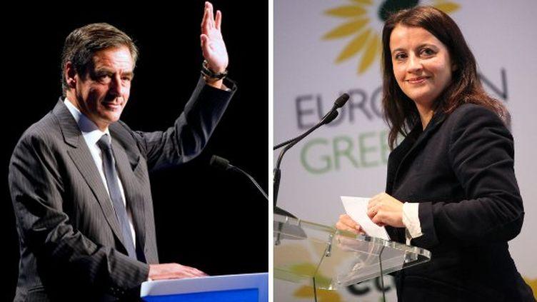 Le Premier ministre, François Fillon, et la secrétaire nationale d'Europe Ecologie-les Verts, Cécile Duflot. (AFP PHOTO / MAXPPP / MONTAGE FTVI)
