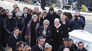Elyette Boudou aux obsèques de Johnny Hallyday, le 9 décembre 2017, à Paris. (LUDOVIC MARIN / AFP)