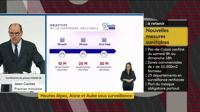 Covid-19 : Jean Castex promet que 20 millions d'adultes seront vaccinées d'ici mi-mai
