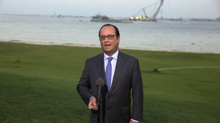 François Hollande, le 6 août 2015, lors de l'inauguration de l'élargissement du canal de Suez, en Egypte. (PHILIPPE WOJAZER / AFP)