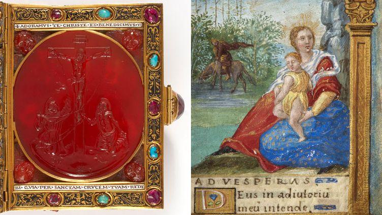 Le livre d'heures de François Ier : la couverture et le détail d'une page  (S.J. Philips)