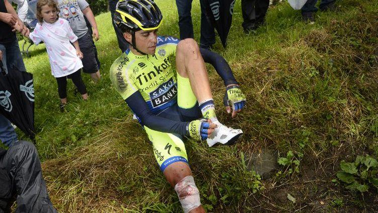 Alberto Contador n'est pas sûr d'être remis pour le départ de la Vuelta. (LIONEL BONAVENTURE / AFP)