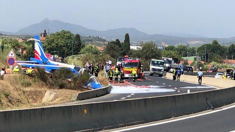 L'avion accienté près de Perpignan en fin de matinée, le 25 juillet 2019 (Céline Llambrich / FRANCE 3)