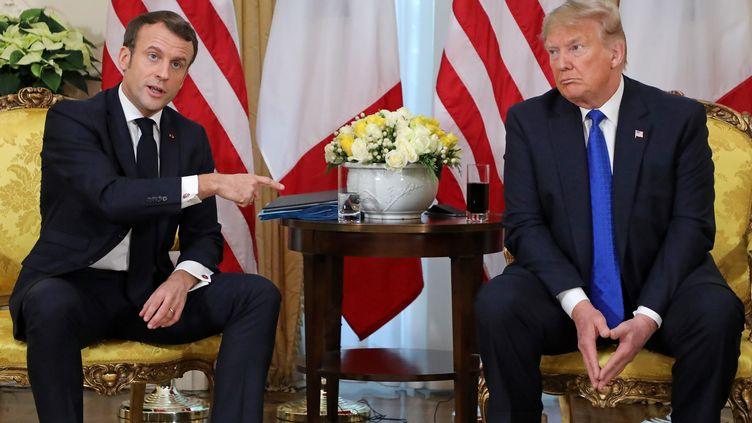 Le président français, Emmanuel Macron, et son homologue américain, Donald Trump, lors d'une rencontre à Londres (Royaume-Uni), le 3 décembre 2019. (LUDOVIC MARIN / AFP)