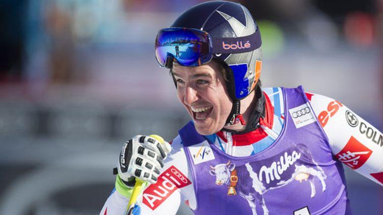 Le skieur français Valentin Giraud-Moine explose de joie après sa descente à Kvitfjell