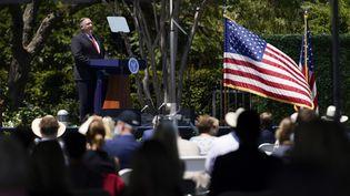 Le chef de la diplomatie américaine Mike Pompeo, jeudi 23 juillet 2020 à Yorba Linda (Etats-Unis). (ASHLEY LANDIS / AFP)