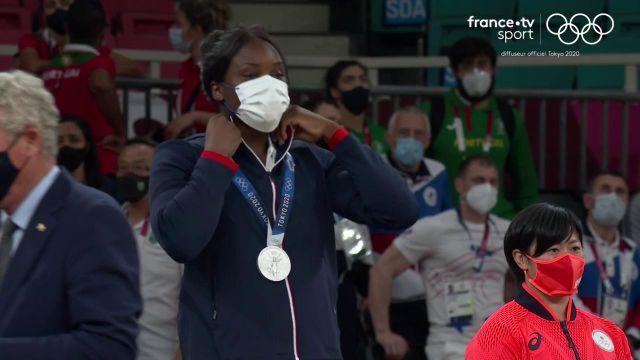 Revivez le podium de Madeleine Malonga, qui s'est vue décerner la médaille d'argent dans la catégorie des - de 78kg.