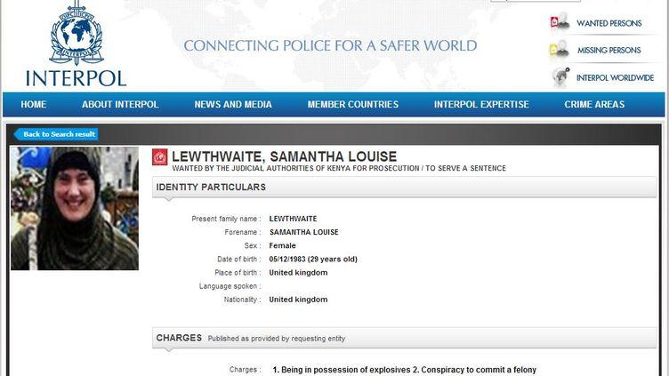 Capture d'écran de la notice rouge de Samantha Lewthwaite. (INTERPOL)
