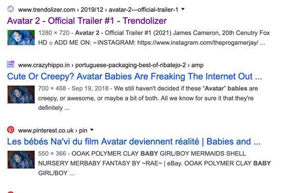 """Le premier lien reprend la fausse bande-annonce et les deux suivants font référence au """"Babyclon"""" dont l'image a été utilisée pour faire la miniature de la fausse bande-annonce. (CAPTURE ECRAN GOOGLE)"""