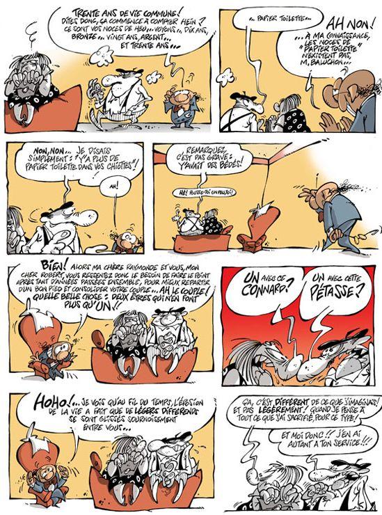 """Les Bidochon vu par Dirick dans """"Le Divan de la BD""""  (Joker Editions )"""