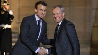 Emmanuel Macron et François de Rugy, le 20 novembre 2017 à l'Elysée à Paris. (LUDOVIC MARIN / AFP)