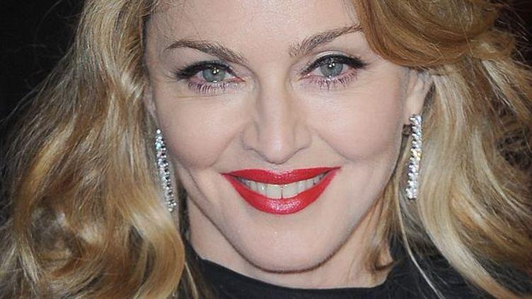 """Madonna le 12 janvier 2012 à la première de """"W.E."""" à Londres.  (MATRIX/MAXPPP )"""