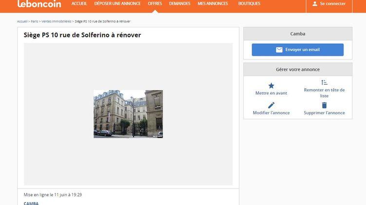 Capture d'écran du site Leboncoin montrant la mise en vente du siège du Parti socialiste. (FRANCEINFO)