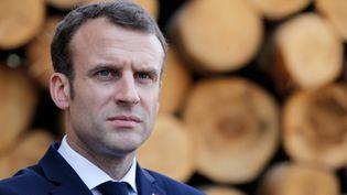 Emmanuel Macron, àSaulxures-sur-Moselotte (Vosges), le 18 avril 2018. (VINCENT KESSLER / AFP)
