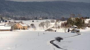 Un paysage enneigé, dans le Jura, le 13 janvier 2016. (PHILIPPE TRIAS / MAXPPP)