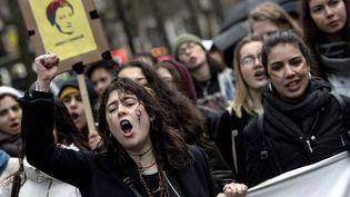 Des manifestantes à Paris, le 8 mars 2018. (CHRISTOPHE ARCHAMBAULT / AFP)
