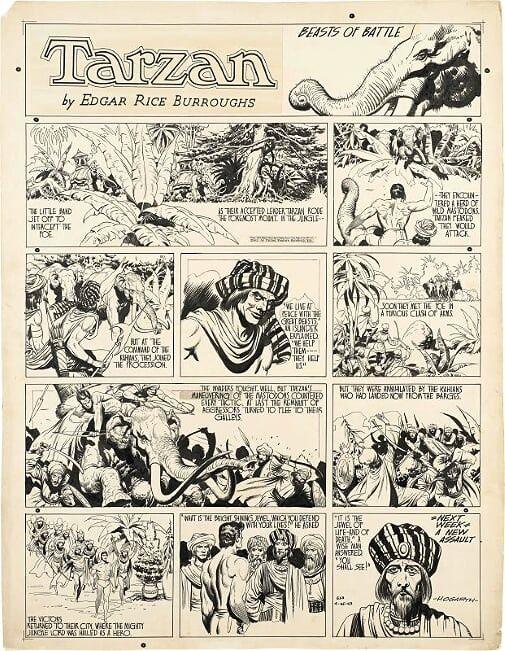 """Burne HOGARTH : """"Tarzan - Beast of Battle"""".Encre de Chine, encre rouge et collage pour une Sunday page « 633 » publiée le 25 avril 1943 par United Feature Syndicate. Titre imprimé et collé. Signé. (ARTCURIAL)"""