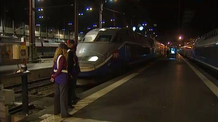 Le TGV 6132 Marseille-Paris, à bord duquel une rixe sanglante a éclaté, arrive en gare de Paris, le 2 octobre 2013. (FRANCE 2 / FRANCETV INFO)