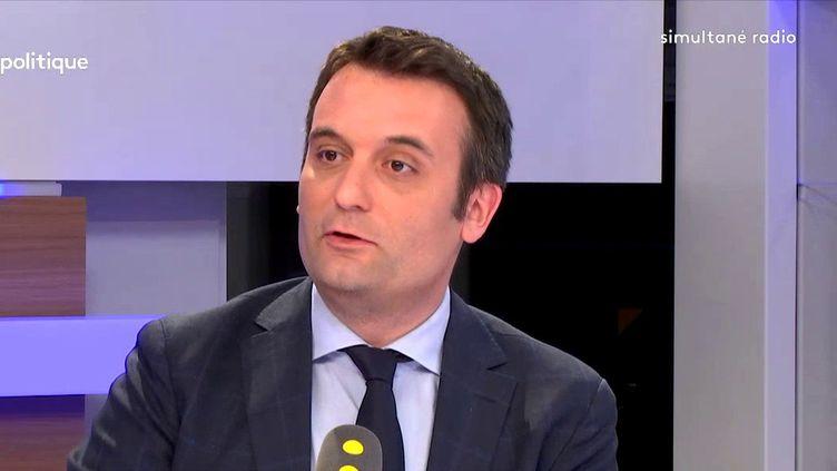 """L'eurodéputé Florian Philippot, président du mouvement Les Patriotes, était l'invité de """"Tout est politique"""" lundi 16 avril sur franceinfo. (FRANCEINFO)"""