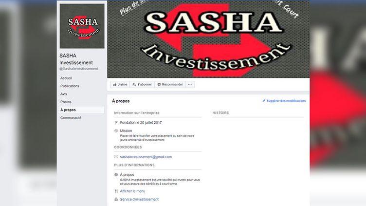 Page Facebook de la société Sasha Investissement. (CAPTURE ECRAN / FRANCEINFO)