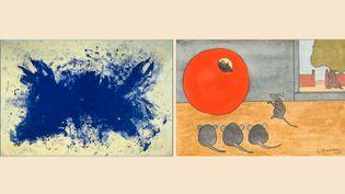 """A gauche Yves Klein, Anthropophagie bleue, Hommage à Tennessee Williams, (ANT 76), 1960 - A droite Léopold Chauveau """"Fables de la Fontaine/ Le rat qui s'est retiré du monde"""" (A droite,  Photo : © Philippe Migeat - Centre Pompidou, MNAM-CCI /Dist. RMN-GP © Succession Yves Klein c/o ADAGP Paris, 2020 - A droite Paris, musée d'Orsay, don de Marc Chauveau, 2016)"""