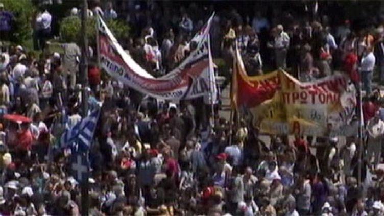 Manifestation à Athènes le 1er mai 2010. (France 3)