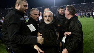 Le président du PAOK Salonique, Ivan Savvidis, le 11 mars 2018 à Thessalonique (Grèce). (SAKIS MITROLIDIS / AFP)