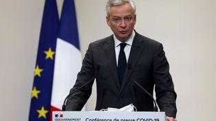 Le ministre de l'Economie et des Finances Bruno Le Maire annonce les nouvelles mesures liées au Covid-19 lors d'une conférence de presse le 14 janvier 2021. (AFP)