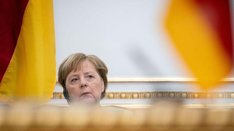 La chancelièreallemande Angela Merkel, le 7 février 2020, à Luanda (Angola). (KAY NIETFELD / DPA / AFP)