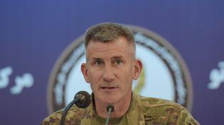 Le généralJohn Nicholsonqui dirige les troupes américaines en Afghanistan lors de sa conférence de presse à Kaboul le 20 novembre 2017. (SHAH MARAI / AFP)