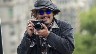 """L'acteur américain Johnny Depp pour la présentation de son film """"Minamata"""" au festival de films BCN à Barcelone en Espagne, en avril 2021 (JORDI VIDAL / WIREIMAGE)"""